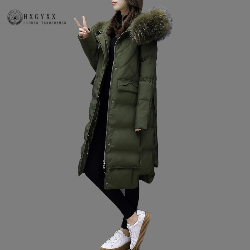 Raccoon Fur Collar Plus Size Warm Puffer Jacket Woman Winter Parka Female White Duck   Down     Coat   Long Slim Overcoat 2019 Okd732