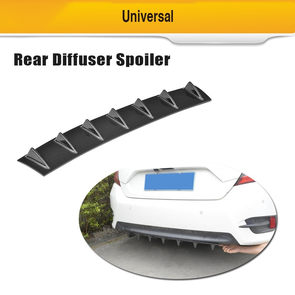 Evrensel Arka Tampon Difüzör Dudak 7 Fin Köpekbalığı E46 E82 W205 AMG Golf Tüm Otomobil ABS Plastik Parlak