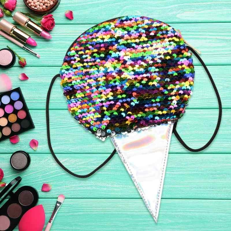 Doce Glitter Lantejoulas Bolsa de Ombro Mulheres Ice Cream Padrão Ocasional 2019 Novo Bonito Coin Purse Batom Pó Partido Das Meninas Bolsas