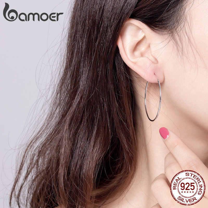 Bamoer 2019 grandes brincos de argola para mulher prata esterlina 925 jóias femininas moda mulher brincos 39mm fine jewelry sce598