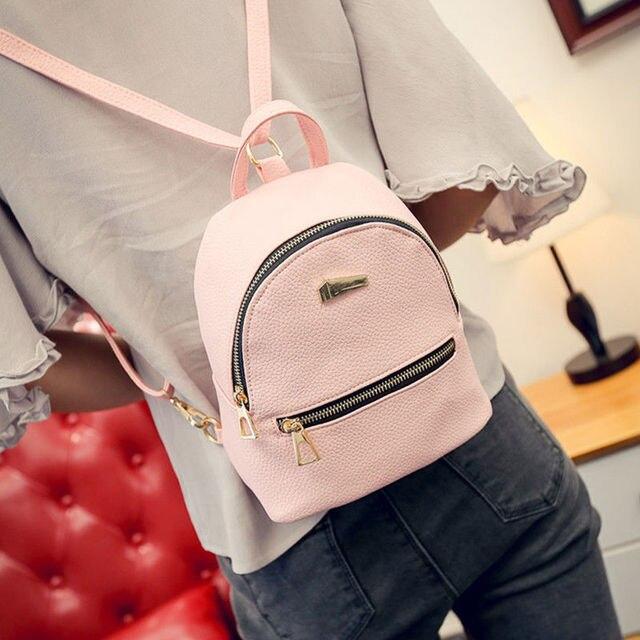 Горячая мода повседневные женские кожаные рюкзаки Мини Путешествия Рюкзак Школьная Сумка черный розовый серый