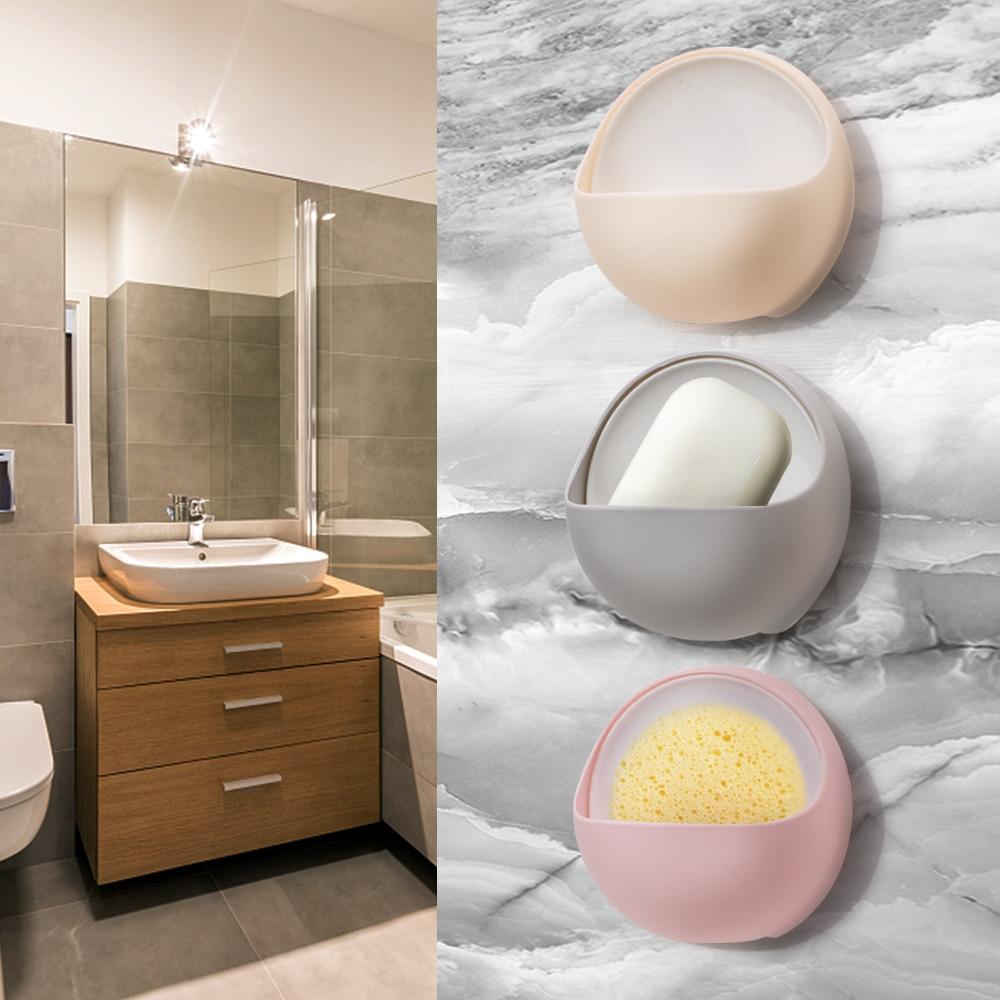 Creative Suction Cup Drain Soap Box Plastic Holder Soap Dish Case Storage Rack Strong Sucker Bathroom Accessories