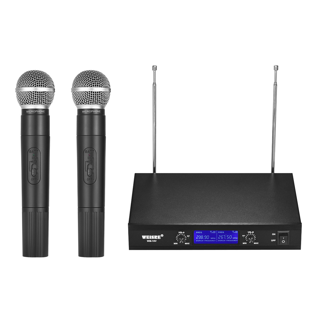 buy professional vhf wireless microphone system 2 channels with 2 handheld mic. Black Bedroom Furniture Sets. Home Design Ideas