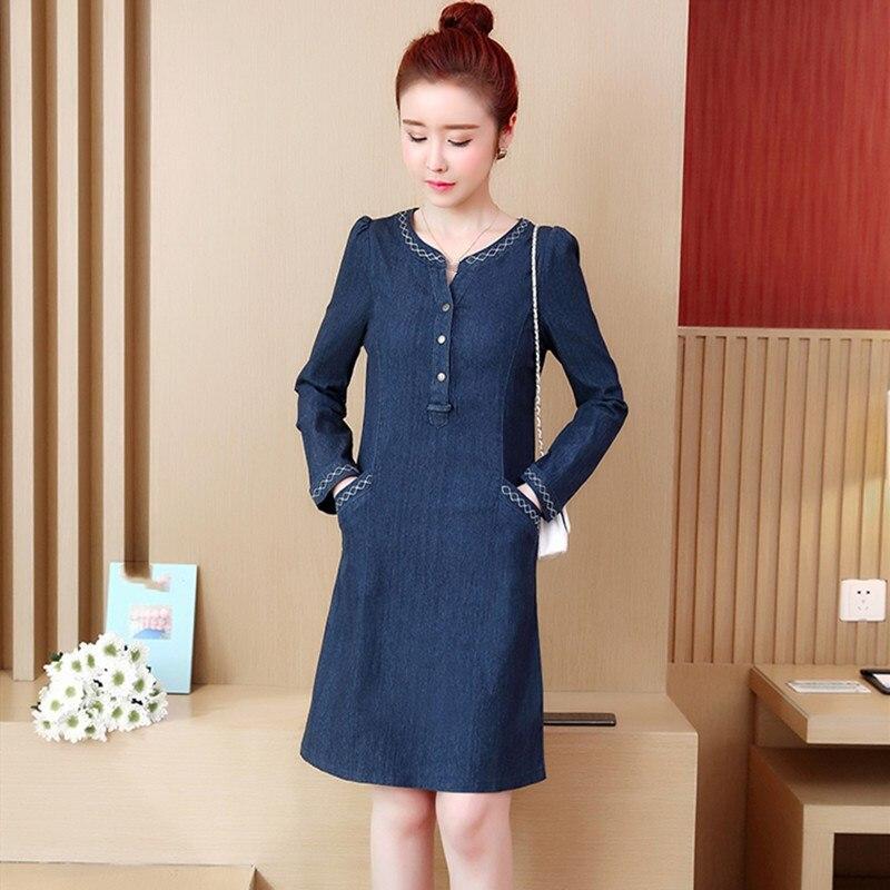 8465927351f Корейское платье из джинсовой ткани 2019 летнее повседневное джинсовое платье  сексуальное джинсовое мини-платье с длинными рукавами плюс ра.