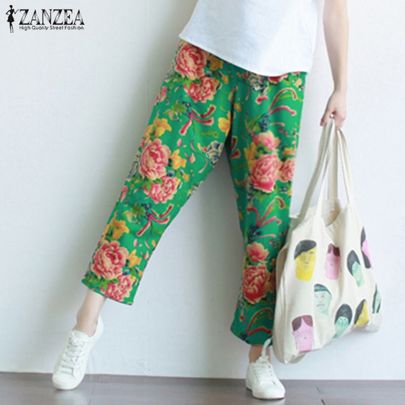 ZANZEA 2019 Floral Print Trousers Women Elastic Waist Harem Pants Female Vintage Chinese Cotton Party Pantalon Palazzo Oversized