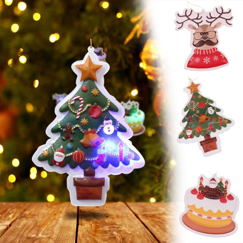 2pcs Christmas Ornament Hanging Christmas Tree Flash Pendant Home Party Xmas Decor 3styles christmas tree decorations new year