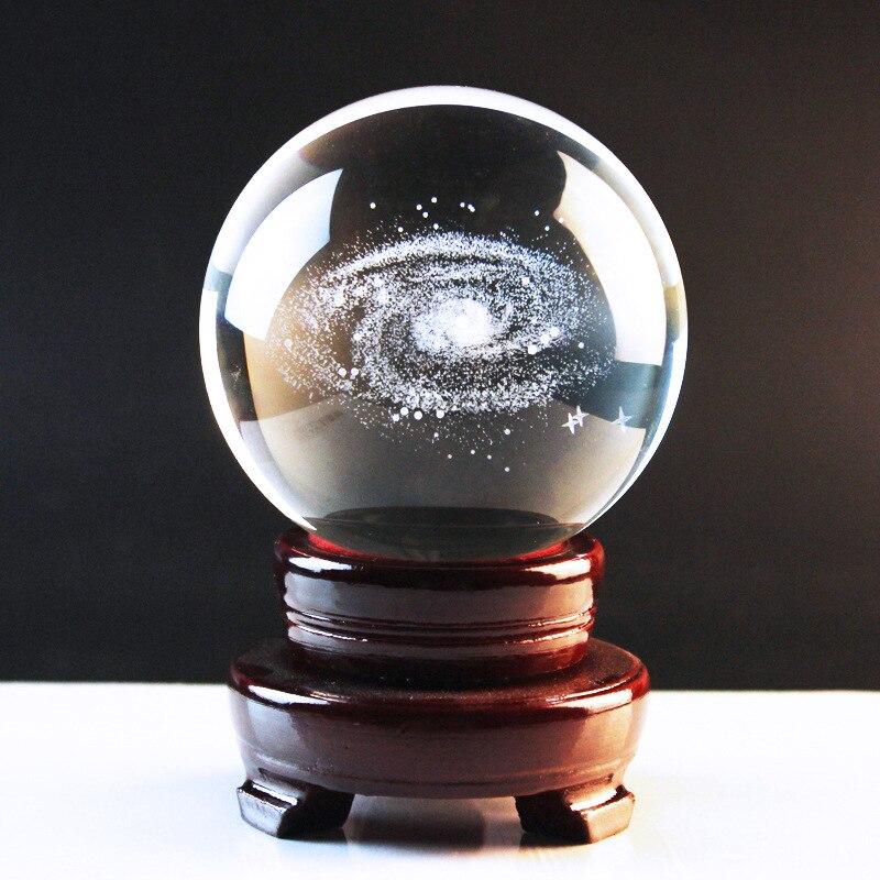 80mm Diameter Internal Carved 3D Galaxy Pattern Transparent Crystal Ball Gift Craft Decorating Ball Home Decor