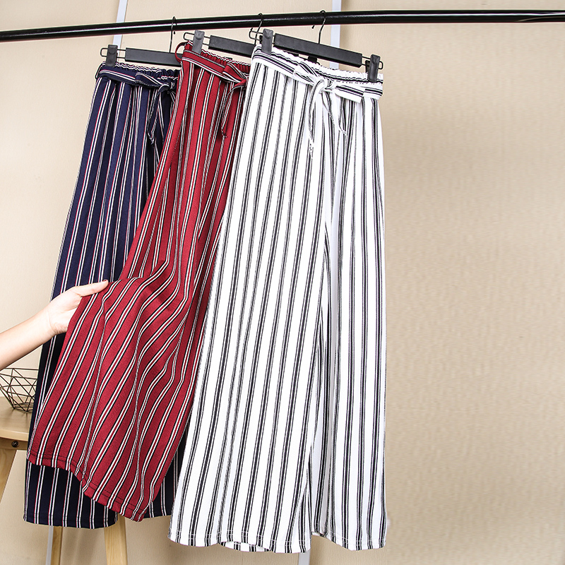 Women Chiffon   Pants   2019 Spring Summer Fashion Female Loose Elasitc Waist Striped   Wide     Leg     Pant   Office Lady Casual Trousers