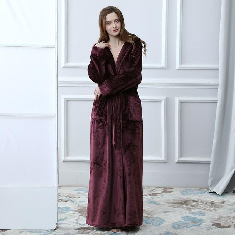 4037209b2f Lovers Hooded Extra Long Thermal Bathrobe Women Men Plus Size Winter  Thicken Warm Bath Robe