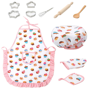 LBER Kids Cooking And Baking Set - 11Pcs Kitchen Costume Role Play Kits Apron Hat Funny Toy For Children cooking apron(China)