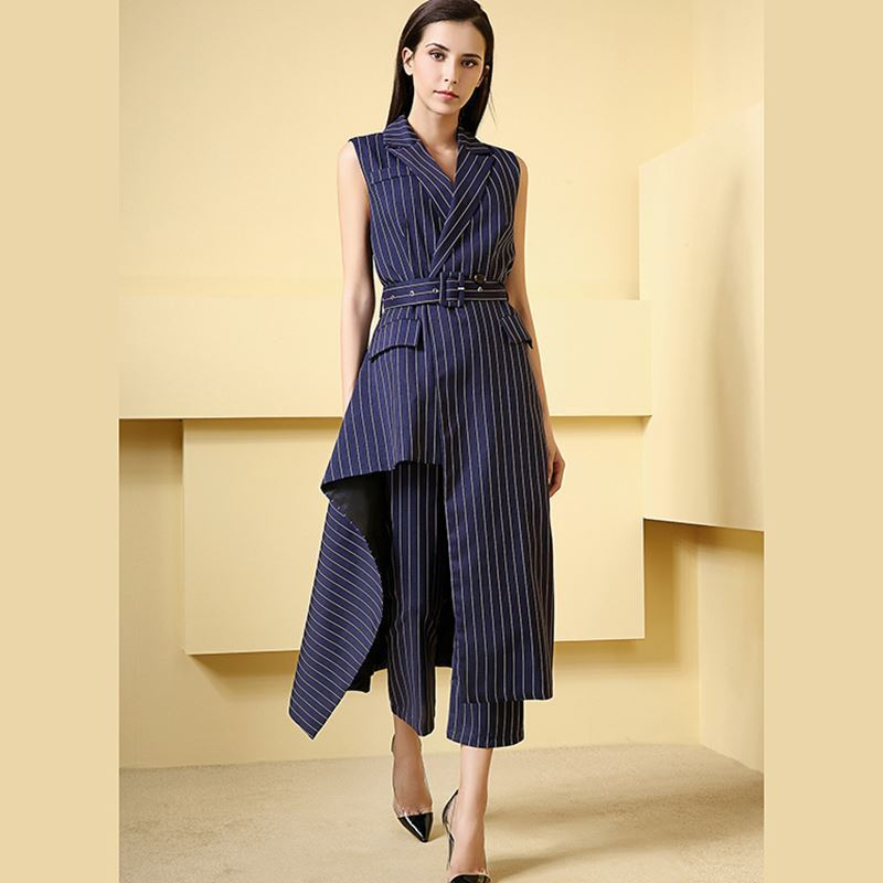 LANMREM 2019 New Fashion Blue Striped Irregular Long Suit Sleeveless Waistcoat Ankle-Length Pants Female's Two Pieces Set YG358