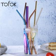Tofok, металлическая соломинка для питья, нержавеющая сталь, многоразовые, прямые/изгибы, пипетка, трубка, кружка, чашки, Коктейльные, вечерние, аксессуары для бара, 4 цвета