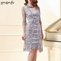 YNQNFS M97 Sheath Silver Two Piece Mother of the Bride Groom Lace Dresses with Jacket Formal Dress Party Gown Vestido Branco