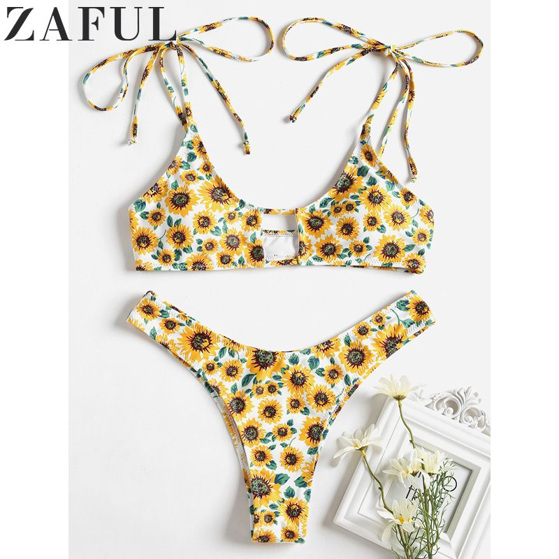 74177eff6 ZAFUL Beach Wear Bathing Suit Sexy Swimwear Sunflower High Cut Bikini Set