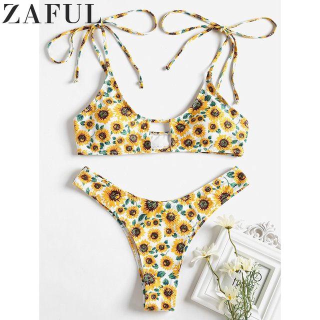 ZAFUL Sexy Đồ Bơi Phù Hợp Với Bãi Biển Hướng Dương Cắt Cao Bikini Set Tắm Phù Hợp Với Spaghetti Dây Đeo Độn Phụ Nữ Áo Tắm Bãi Biển Mặc