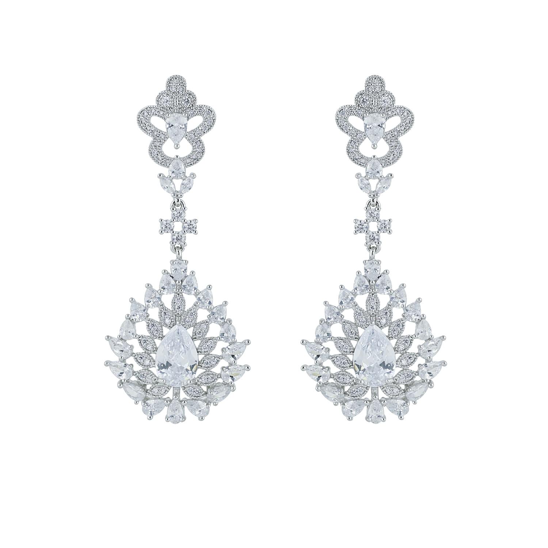 Us 12 32 20 Off Full Cz Cubic Zirconia Round Teardrop Earring Women Dangle Earrings Bridal Wedding Jewelry Accessories Gift Ce10055 In Drop
