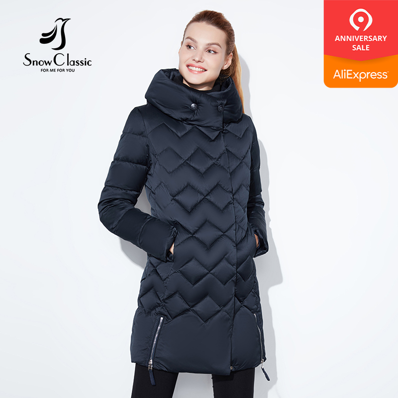 SnowClassic winter jacket women Thin short parka Hood coats luxury outerwear Argyle jacket female over solid winter coats 2018