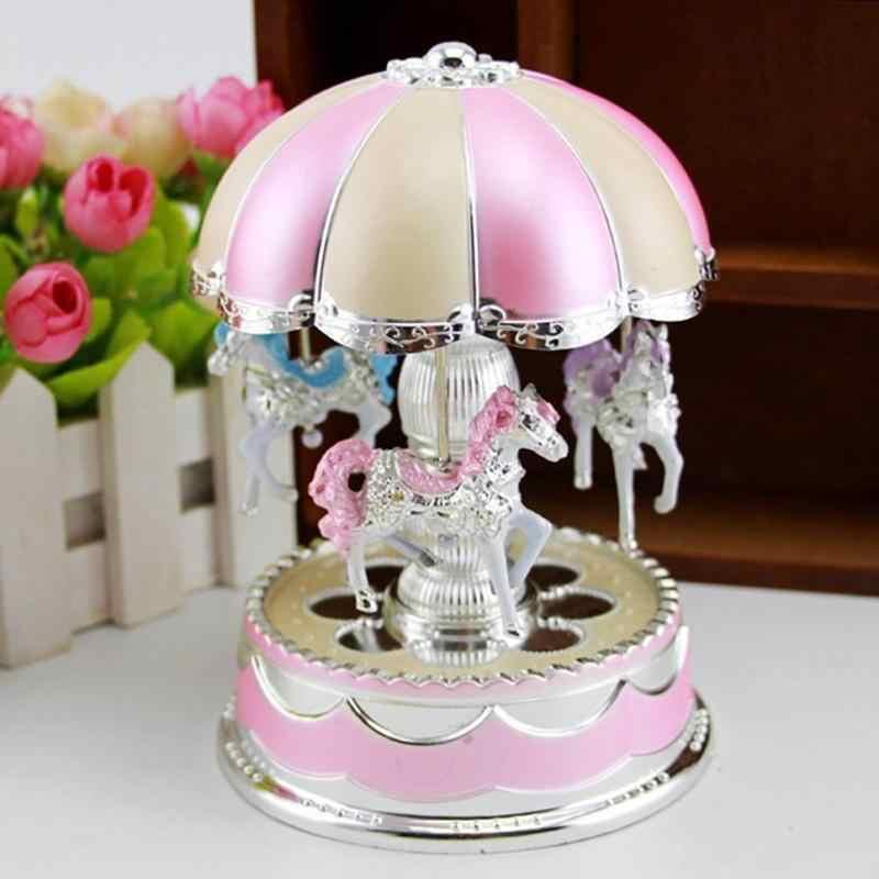 Caixa de música carrossel led luz merry go round crianças meninas aniversário presente de natal crianças brinquedo feriado festa de casamento decoração uso