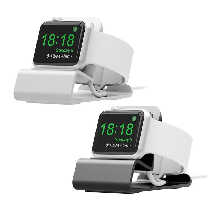 Base de luxo para apple watch titular mãos livres cabo buraco suporte de carregamento suporte alumínio para iwatch doca estação suporte berço