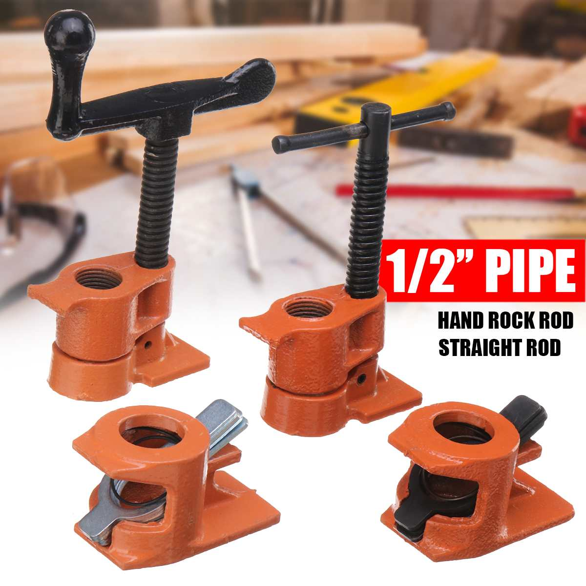 1/2 Inch Wood Gluing Pipe Clamp Quick Release Heavy Duty Hand Rock/Straight Rod Steel Clamps Fixture Carpenter Woodworking Tool1/2 Inch Wood Gluing Pipe Clamp Quick Release Heavy Duty Hand Rock/Straight Rod Steel Clamps Fixture Carpenter Woodworking Tool