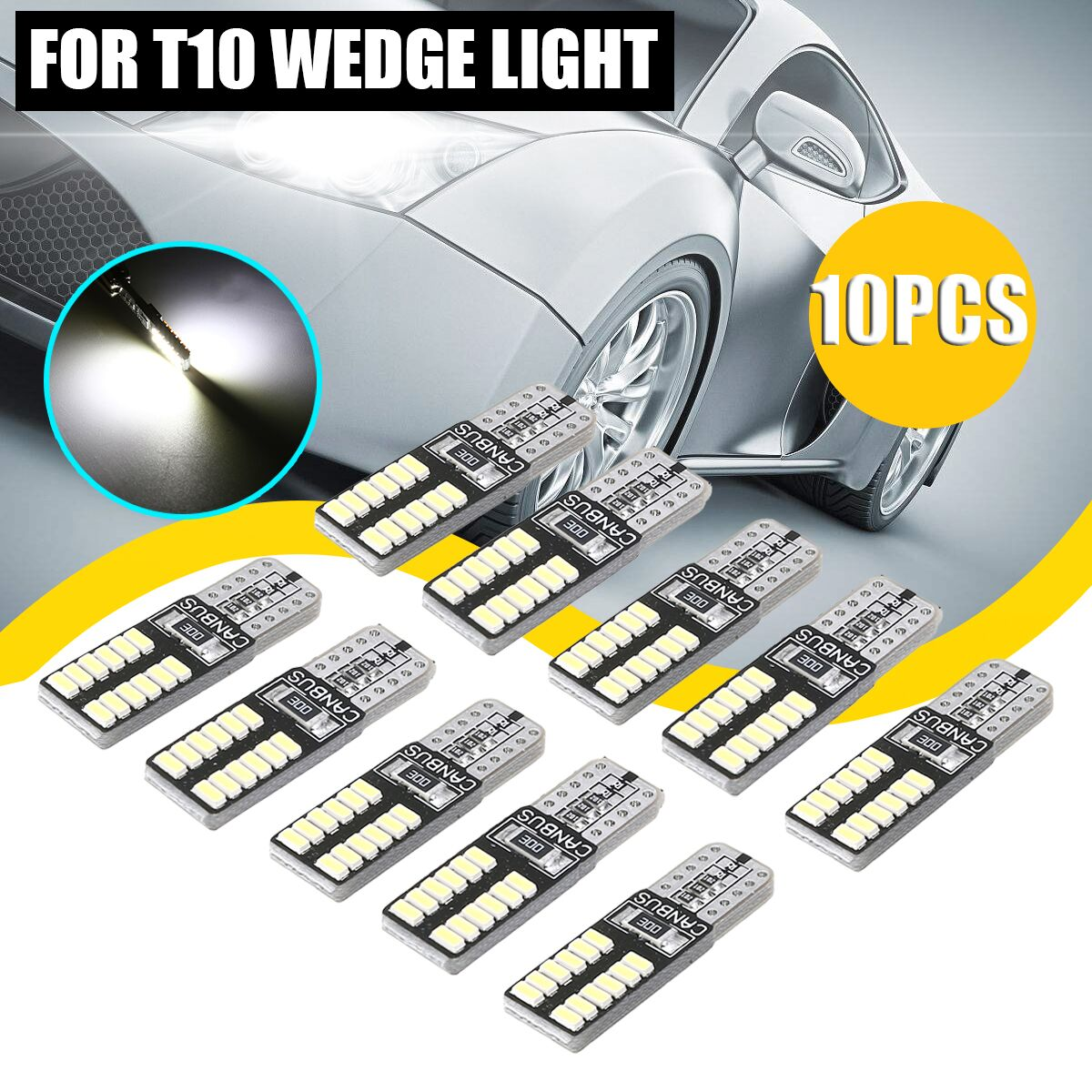 10pcs T10 Canbus <font><b>Led</b></font> 24led 3014smd Car Smd Signal Light <font><b>w5w</b></font> <font><b>led</b></font> 194 t10 24smd Canbus <font><b>led</b></font> <font><b>Bulb</b></font> No Error image
