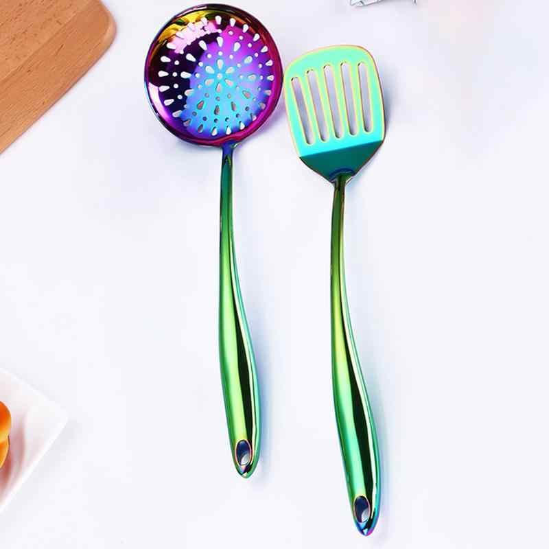 Красочный кухонный инструмент, Радужный набор инструментов для приготовления пищи, кухонная утварь, набор кухонной посуды для ресторана, суповый ковшовый дуршлаг, ложка
