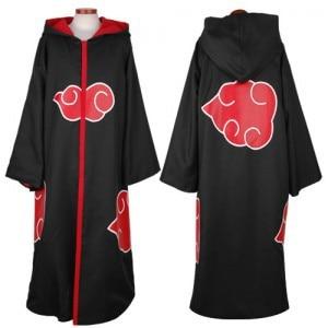 S-2XL stand collar hooed Naruto Akatsuki Itachi Uchiha Deluxe Men's Cosplay Costume Cloak Anime Cosplay Costume