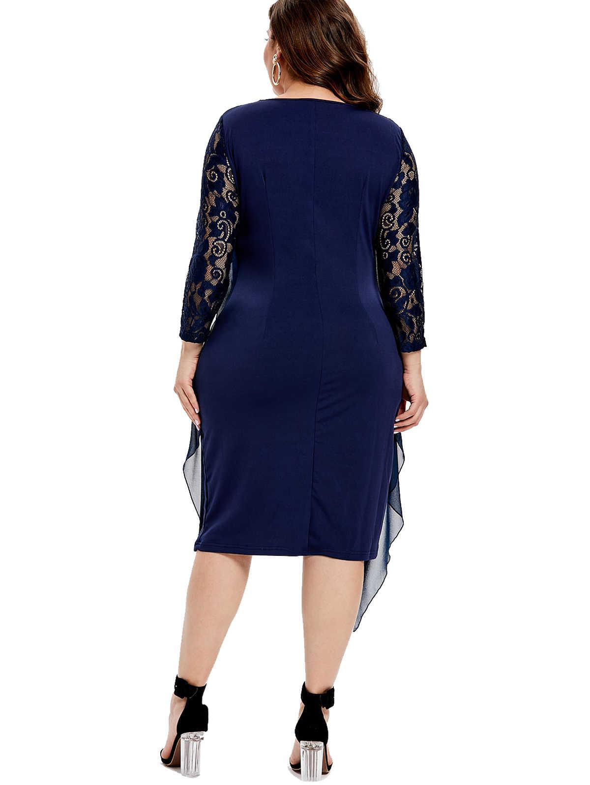 Wipalo размера плюс 6XL Стразы Украшенные три четверти кружевное платье с рукавом женское однотонное Кружевное Платье До Колена облегающее платье Vestidos