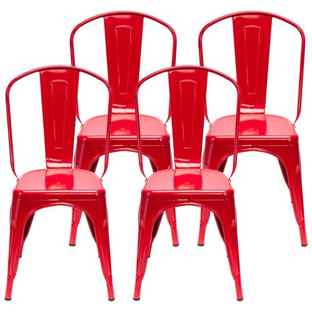 4PCS  Red Iron Backrest Chairs  6