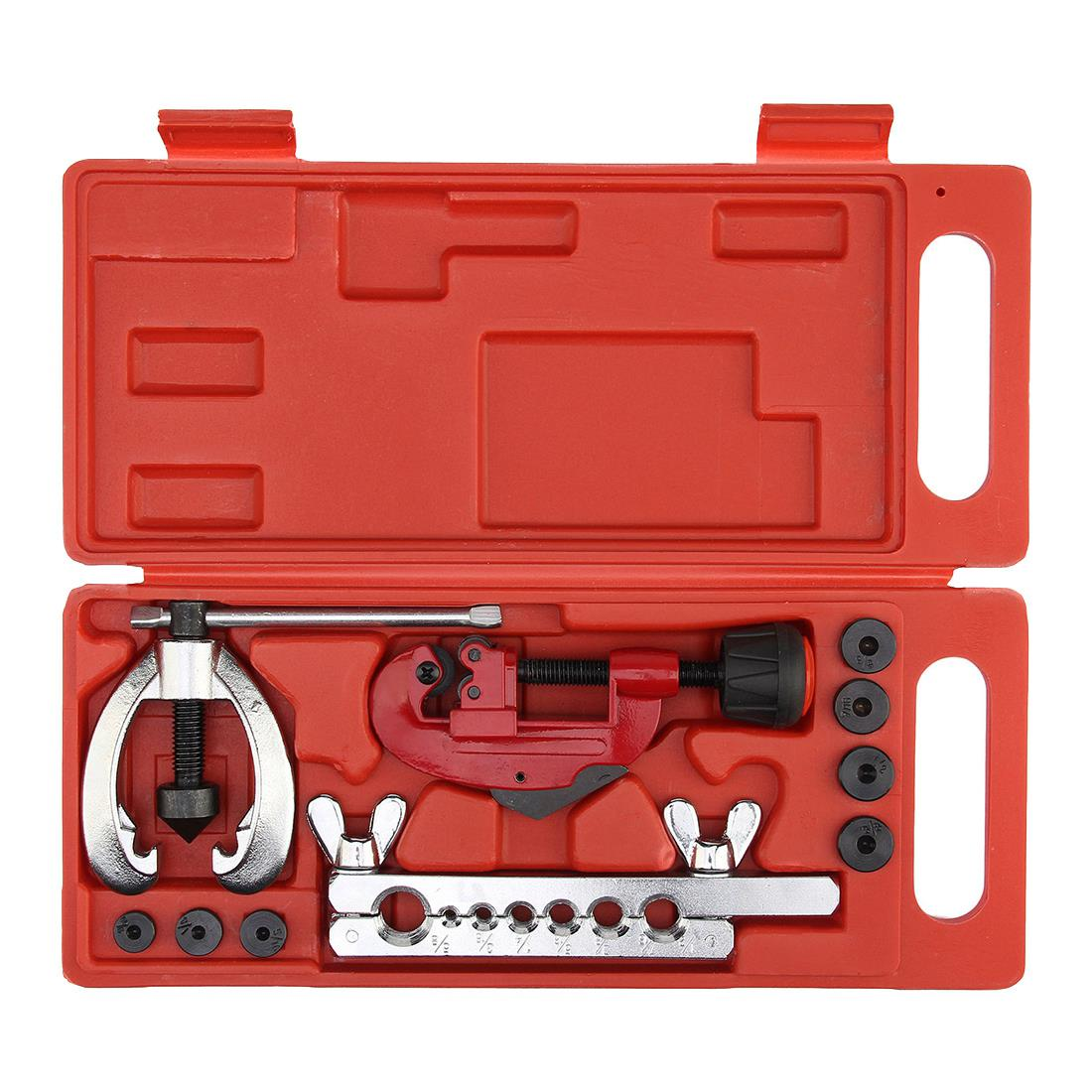 JFBL Hot Heat Treated Steel, metal Tube Cutter Brake Fuel Pipe Repair Double Flaring Die Tool Set Clamp KitFor Cutting And Fla 10 pcs jfbl hot sale high quality repair part deburred tool 10pcs bs1010 s10 1pcs nb1100 deburring tool blades