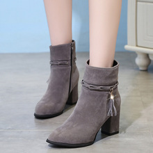 Women boot Autumn And Winter New European And American Fringed Suede Boots high heel Women's Boots Pointed Toe fashion Mid Heel prova perfetto ankle boots for women chunky high heel martin boot pointed toe rivet fringed genuine leaather autumn winter botas