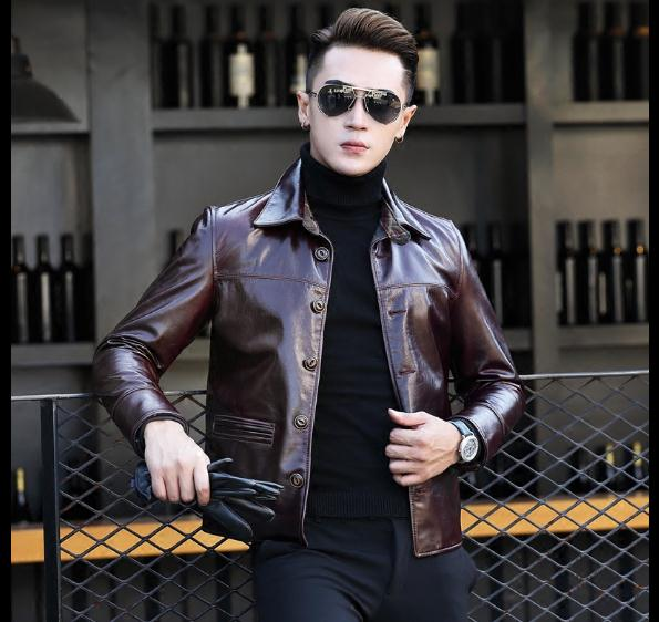 Homme En Classique Véritable Jacketman Hommes Pourpre Qualité Vachette Cool Ventes Cuir Coatfashion Vêtements Casual Pour qw1RC