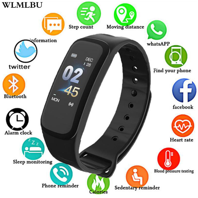 WLMLBU C1Plus Smart Band Blood Pressure Fitness Tracker Heart Rate Monitor Smart Bracelet Black Men Watch for Sport Climbing