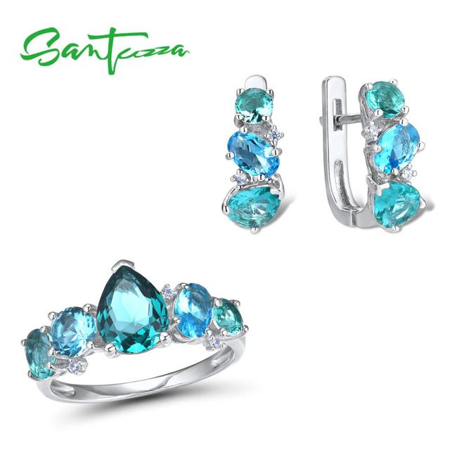 SANTUZZA Silver Jewelry Sets For Women 925 Sterling Silver Blue Green Crystal White CZ Earrings Ring Set  Party Fashion Jewelry