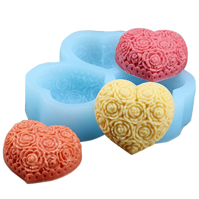 Christmas Candle Silicone Moulds with 3 Love Flowers Shape Design Candle Making Tools for DIY Handmade Candle Holder Clay Crafts
