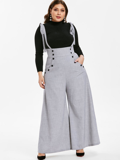 7398a56dbf319 Wipalo Women Plus Size 5XL Button Suspender Pants High Waist Loose Casual  Solid Wide Leg Bib