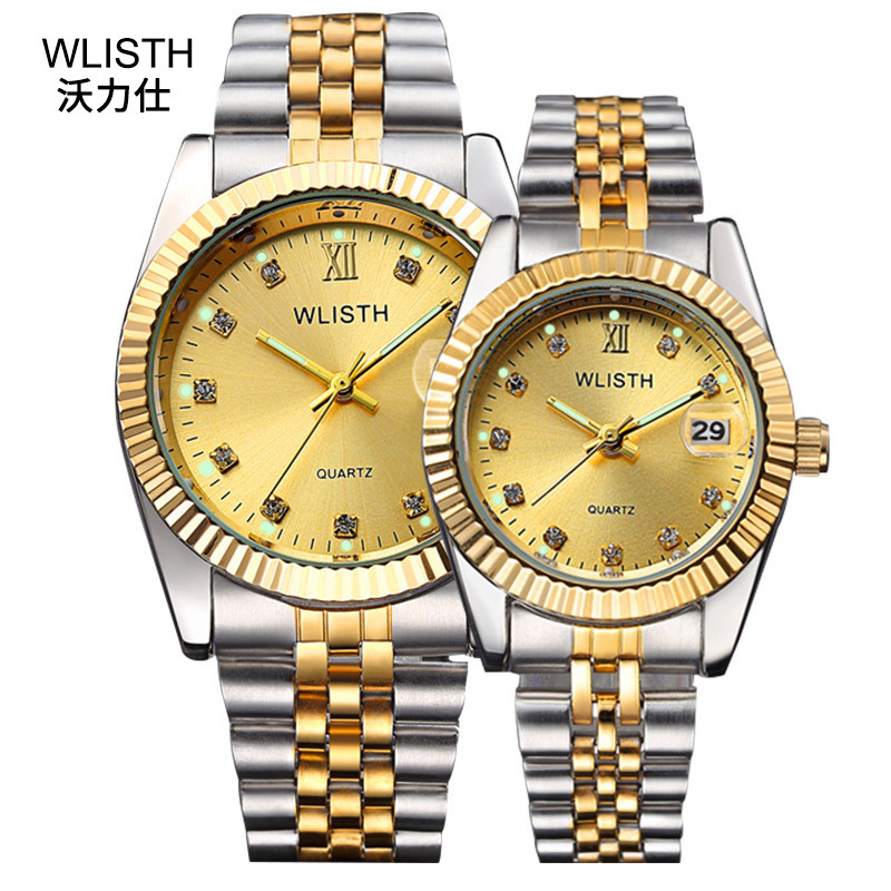 WLISTH Couple Watches Wedding Clock Dress Gifts Waterproof Ladies Lovers for Steel 30m