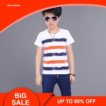 Sport Suits Teenage Summer Boys Clothing Sets Short Sleeve T Shirt & Pants Casual Child Boy Clothes стоимость
