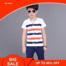 цена на Sport Suits Teenage Summer Boys Clothing Sets Short Sleeve T Shirt & Pants Casual Child Boy Clothes