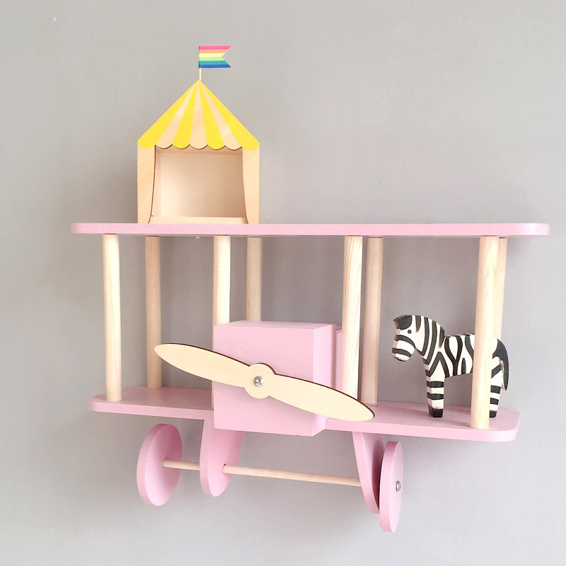 Nordic Style Wooden Airplane Shelf Child Room Decoration Floating Shelf 100% Handmade Birth Gift Idea Nursery Wall Decoration