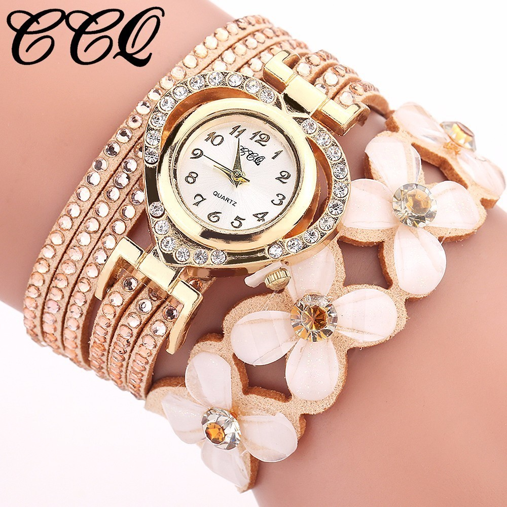 Best Selling Fashion Women Rhinestone Bracelet Watch Casual Luxury CCQ Leather Flower Crystal Quartz Watch Relogio Feminino