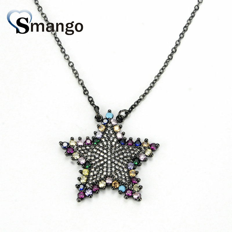 5Pieces The Rainbow Series Women Fashion Colorful Star Shape CZ Prong Setting Necklace and Connectors 4 Colors Can Wholesale in Chain Necklaces from Jewelry Accessories