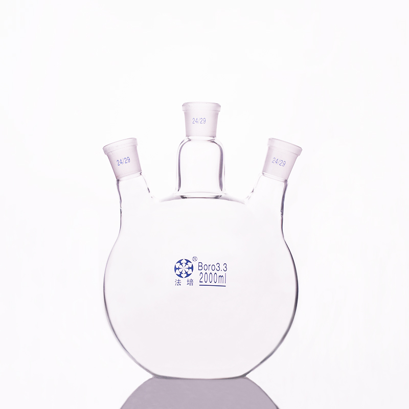 Three-necked flask oblique shape,with three necks standard grinding mouth,Capacity 2000ml 24/29,Three-necked flat bottom flask