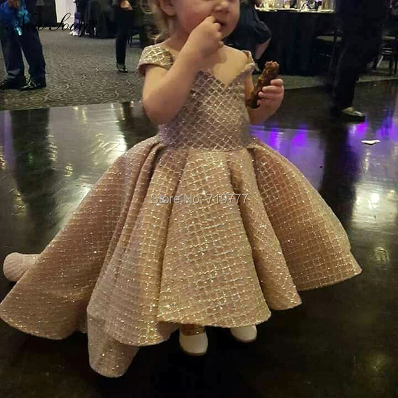 Shiny Princess Flower Girl Dresses 2019 Custom Made High Low Kids Evening Dress First Communion Dresses For Girls Pageant Gowns