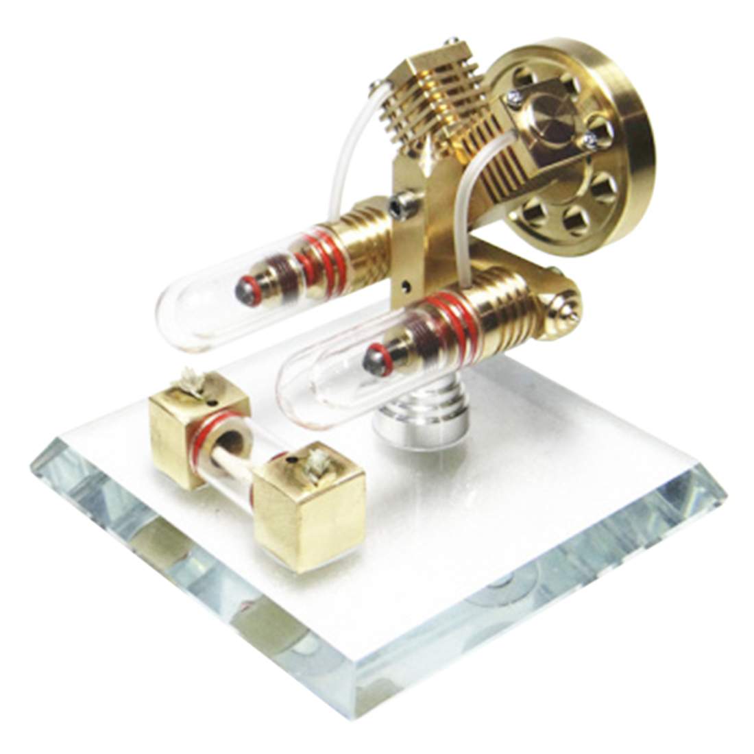 V Shape Free piston Double cylinder Stirling Engine Model Building Kits High end Creative Gifts for