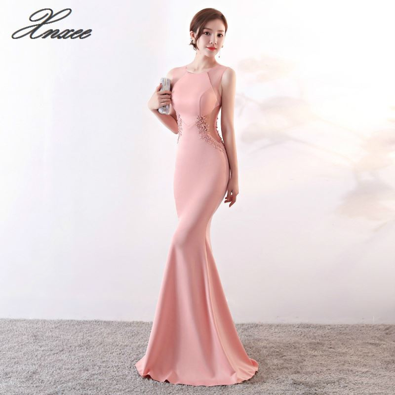 long dresses Lace flowers beading sexy mermaid trumpet long prom party dress elasticity robe
