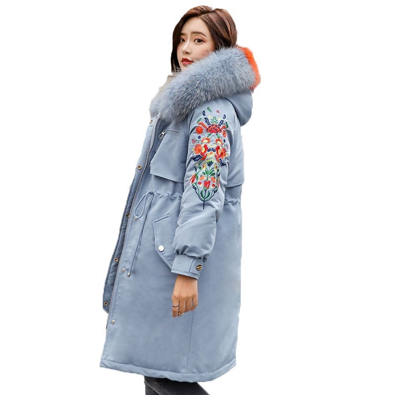 Plus Size 2018 New Winter Jacket Women Fashion Embroidery Cotton Padded Chromatic Big Hair Collar Casual Long   Parka   A595
