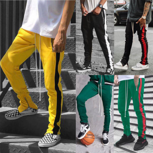 Hirigin 2019 Zipper Pocket Anke Zip Track Pants Long Dawstring Sweatpants
