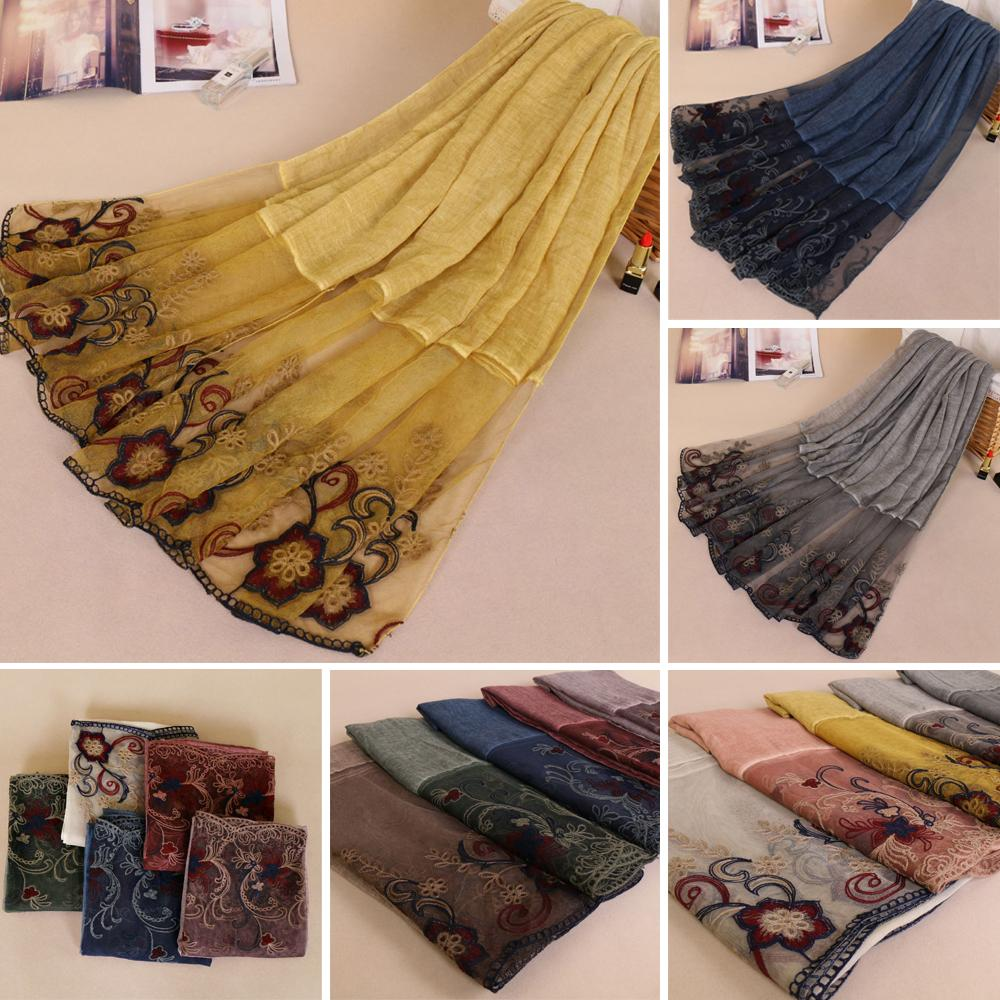 200*85cm Women Cotton Flower Long Scarf Lace Patchwork Muslim Hijab Scarf India Islam Cape Turkish Shawl Wrap Headscarf Pashmina