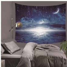 Fancy Cartoon Moon Cosmos Explore Polyester Tapestry Children Bedroom Wall Hanging Gobelin Bedding Cover Home Decor  LZT3